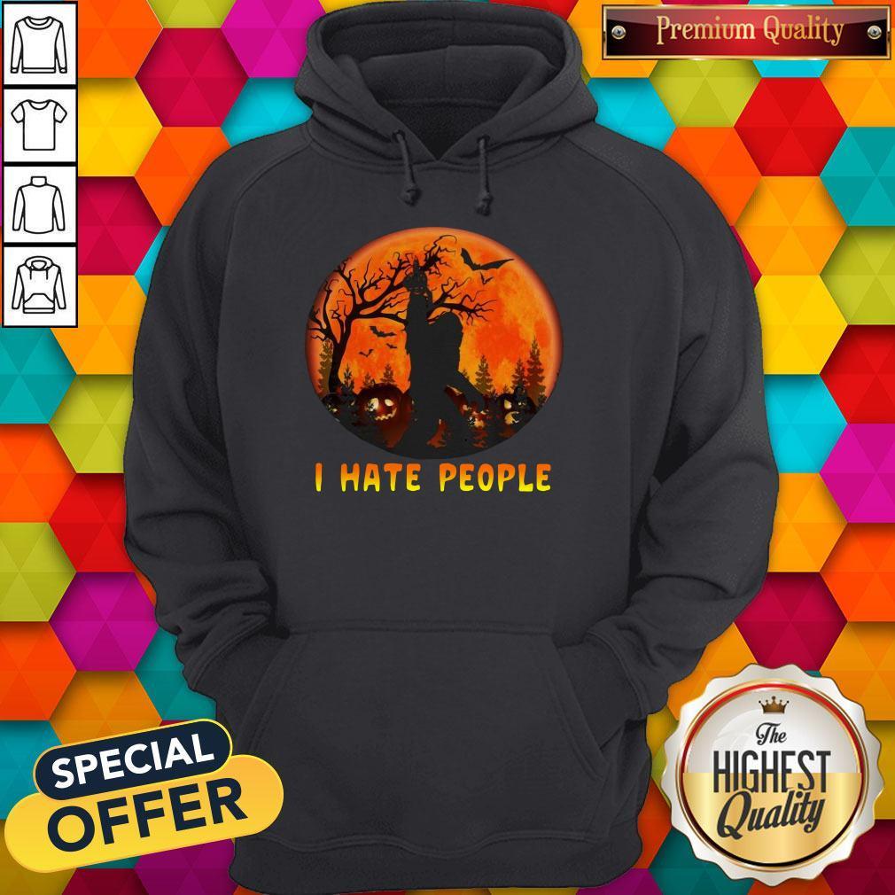 Premium Bigfoot I Hate People Halloween Moon Shirt